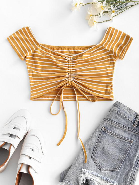 buy ZAFUL Cinched Stripe Cropped T Shirt - YELLOW S