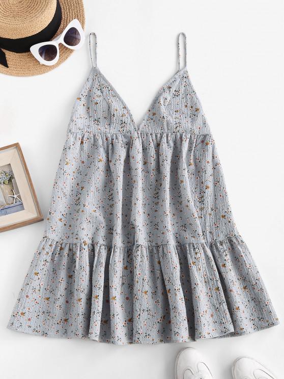 trendy ZAFUL Flounce Tiny Floral Print Tent Dress - LIGHT BLUE M