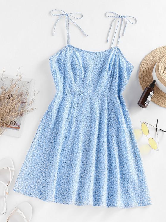 ZAFUL Robe Fendue Fleurie Imprimée - Bleu clair S