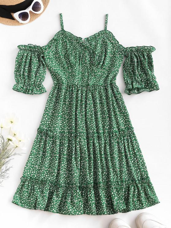 fancy Ditsy Print Frilled Cold Shoulder Tiered Dress - DEEP GREEN M