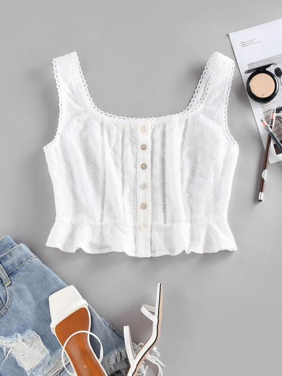 ZAFUL Broderie Anglaise Ruffle Button Up Tank Top - أبيض M