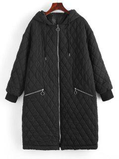 Long Hooded Zippered Pockets Quilted Coat - Black Xl