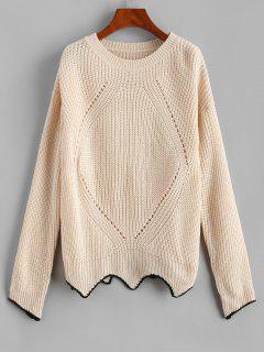 ZAFUL Drop Shoulder Pointelle Knit Uneven Hem Sweater - Light Yellow M