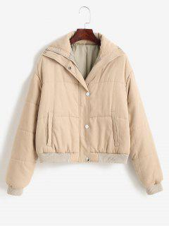 ZAFUL Padded Snap Button Zip Pocket Puffer Coat - Light Khaki M