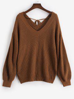 ZAFUL Plus Size V Neck Tie Back Sweater - Deep Coffee 2xl
