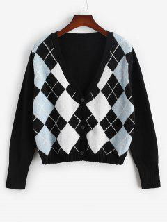 ZAFUL Plus Size V Neck Argyle Pattern Cardigan - Black L