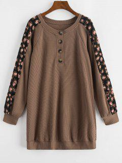 ZAFUL Printed Panel Button Front Long Sleeve Dress - Coffee S