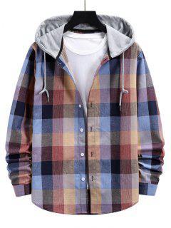 Colorblock Hood Plaid Shirt Jacket - Pink Xl