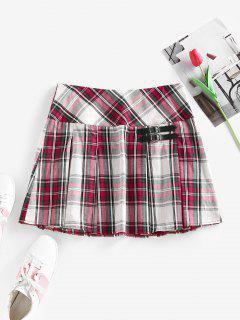 ZAFUL Plaid Buckle Embellished Pleated Mini Skirt - Multi M