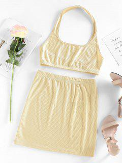 ZAFUL Halter Ribbed Backless Crop Top And Mini Skirt Set - Light Yellow M