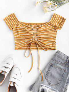 ZAFUL Cinched Stripe Cropped T Shirt - Yellow M