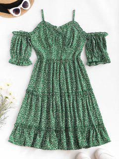 Ditsy Print Frilled Cold Shoulder Tiered Dress - Deep Green L
