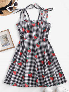 ZAFUL Gingham Strawberry Print Tie Shoulder Mini Dress - Black M