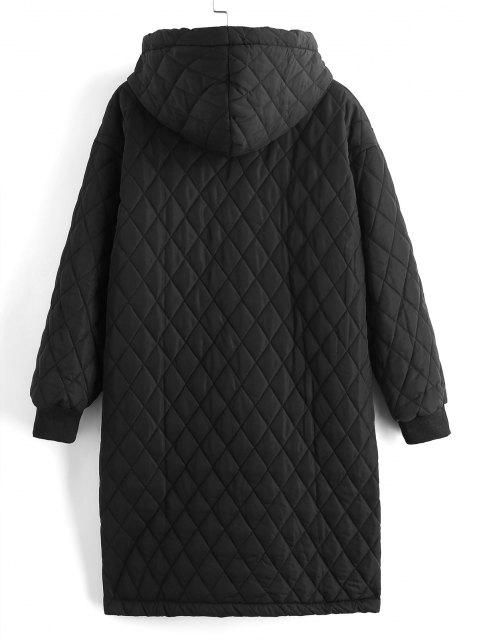 best Long Hooded Zippered Pockets Quilted Coat - BLACK XL Mobile