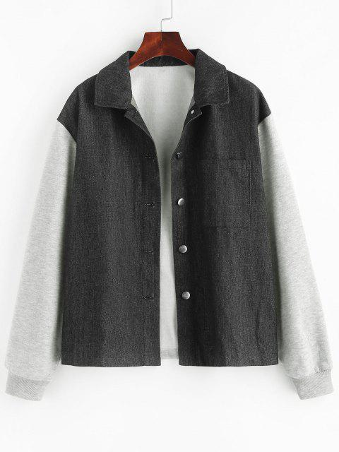 hot ZAFUL Patchwork Denim Insert Jacket - BLACK S Mobile