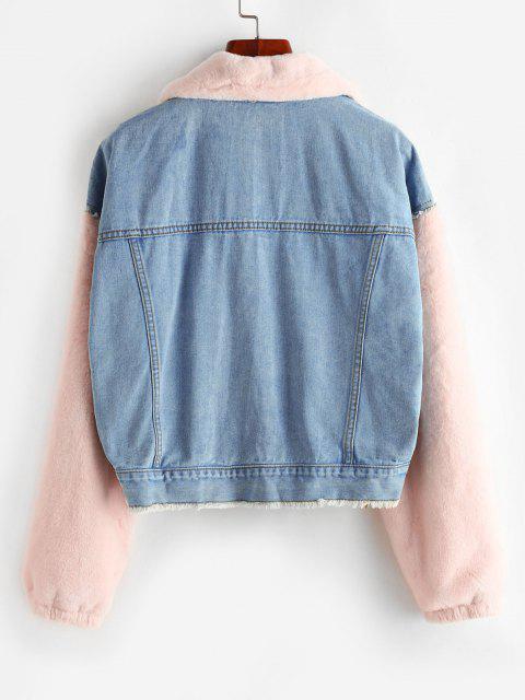 online Frayed Faux Fur Panel Combo Denim Jacket - BLUE GRAY S Mobile