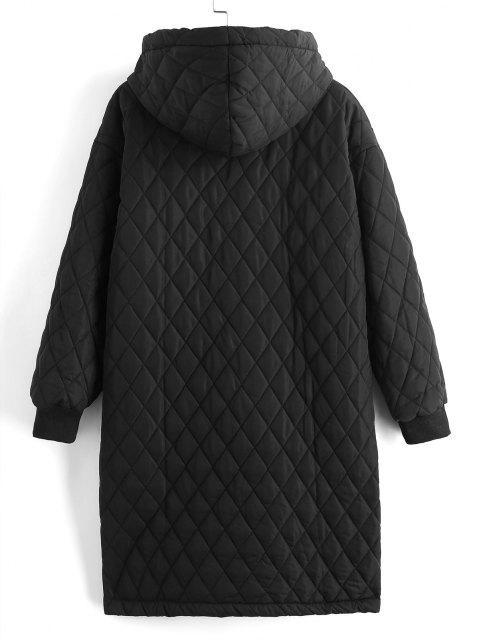 Manteau à Capuche Matelassé Long Zippé avec Poches - Noir S Mobile