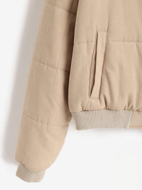 shop ZAFUL Padded Snap Button Zip Pocket Puffer Coat - LIGHT KHAKI M Mobile