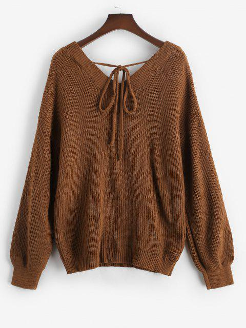 ladies ZAFUL Plus Size V Neck Tie Back Sweater - DEEP COFFEE 2XL Mobile