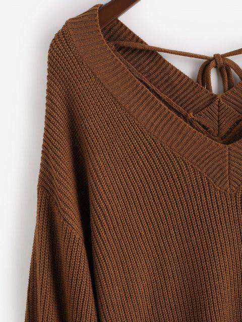 lady ZAFUL Plus Size V Neck Tie Back Sweater - DEEP COFFEE 3XL Mobile