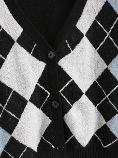 fashion ZAFUL Plus Size V Neck Argyle Pattern Cardigan - BLACK 2XL Mobile