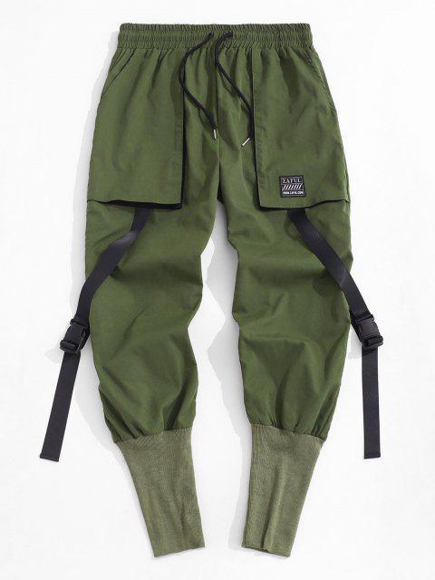 Pantalones de Cargo con Correa Hebilla - Verde Oscuro M Mobile