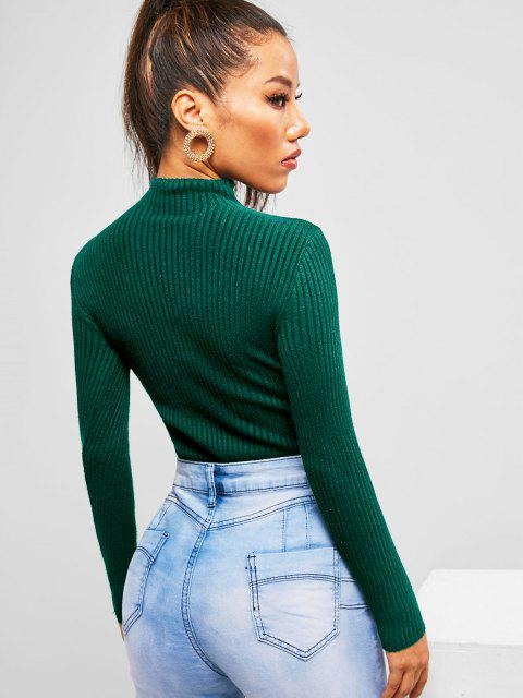 shops Ribbed Mock Neck Basic Knitwear - DEEP GREEN ONE SIZE Mobile