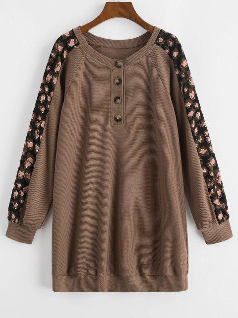 best ZAFUL Printed Panel Button Front Long Sleeve Dress - COFFEE XL Mobile