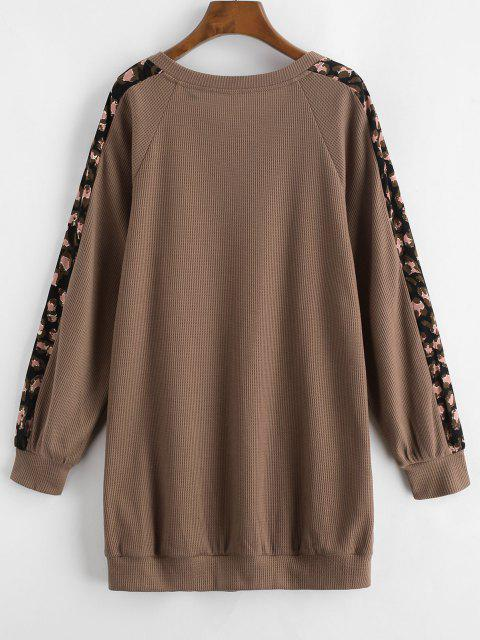 hot ZAFUL Printed Panel Button Front Long Sleeve Dress - COFFEE L Mobile