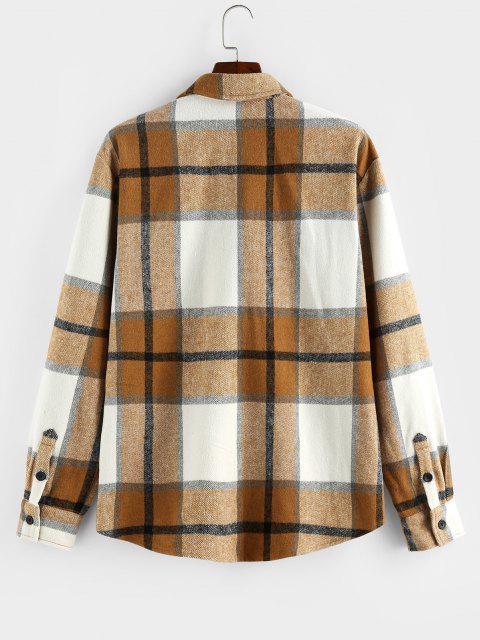 ZAFUL Plaid Print Double Pockets Wool Blend Jacket - اصفر غامق 2XL Mobile