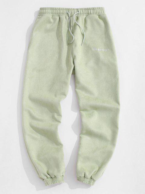 Jogger Pantalones de Gamuza Bordado de Letras - Verde claro S Mobile