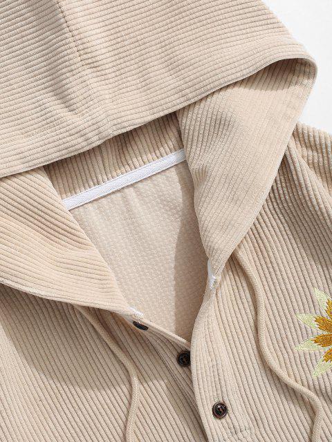 Sonnenblume Stickerei Halber Knopf Kord Hoodie - Licht Kaffee XL Mobile