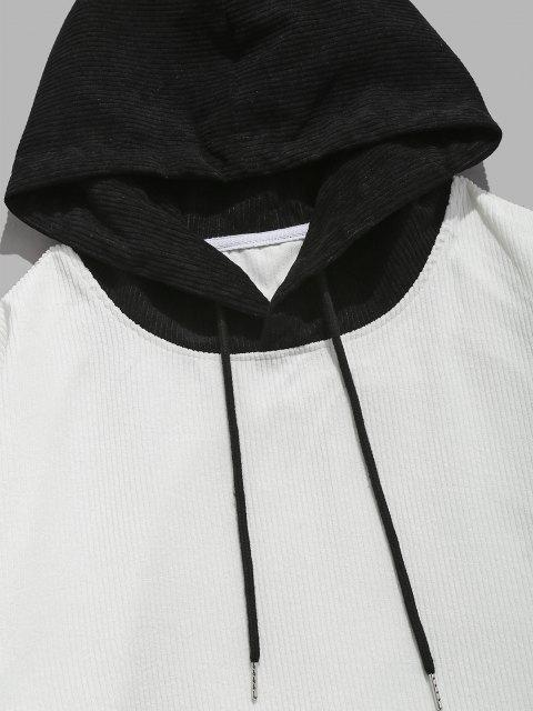 best ZAFUL Colorblock Drop Shoulder Corduroy Hoodie - WHITE M Mobile