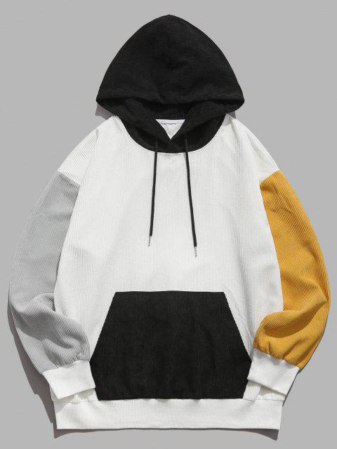 women's ZAFUL Colorblock Drop Shoulder Corduroy Hoodie - WHITE L Mobile