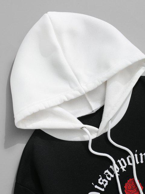 hot Colorblock Rose Slogan Fleece Lined Hoodie - BLACK S Mobile