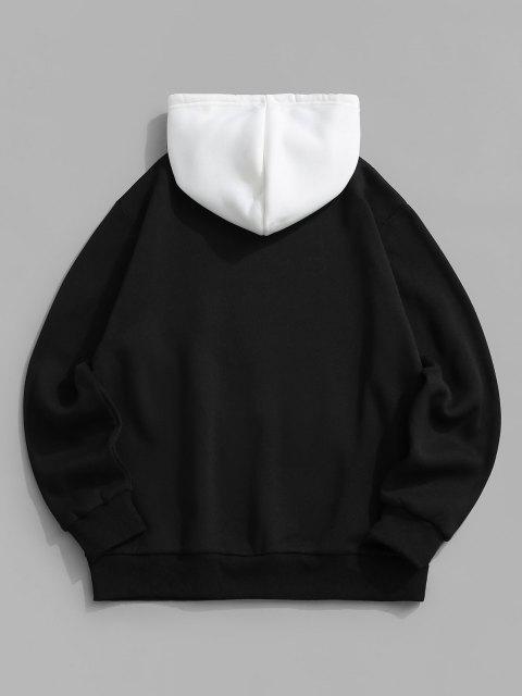 shops Colorblock Rose Slogan Fleece Lined Hoodie - BLACK 2XL Mobile