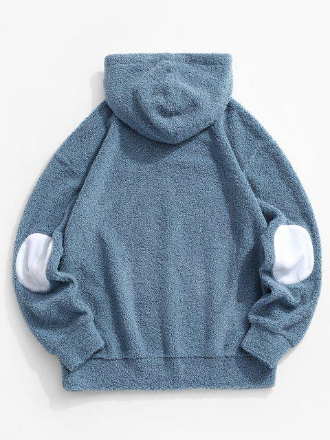 lady Come On Embroidery Elbow Patched Teddy Hoodie - BLUE M Mobile