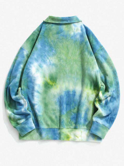 trendy Tie Dye Good Morning Embroidery Fleece Sweatshirt - LIGHT BLUE XL Mobile