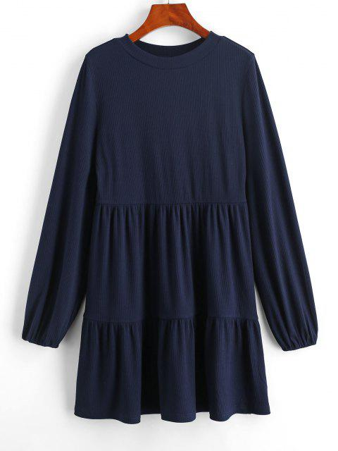 fancy ZAFUL Ribbed Long Sleeve Mini Dress - DEEP BLUE L Mobile