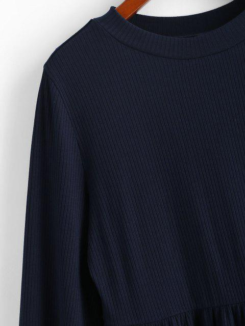buy ZAFUL Ribbed Long Sleeve Mini Dress - DEEP BLUE S Mobile