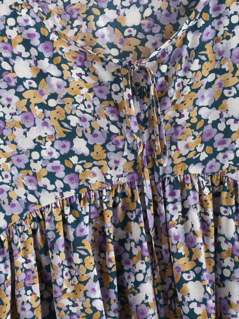 lady ZAFUL Tie Collar Floral Lantern Sleeve Blouse - PURPLE M Mobile