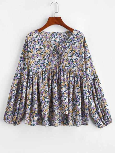 online ZAFUL Tie Collar Floral Lantern Sleeve Blouse - PURPLE S Mobile