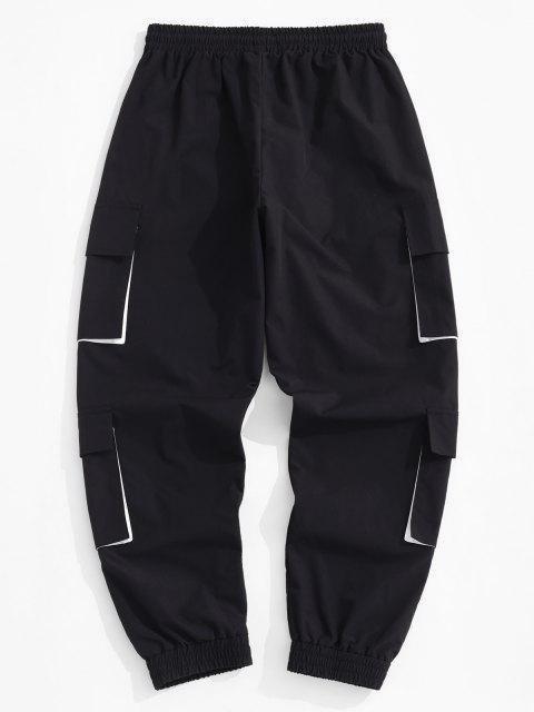 Pantalones de Carga con Bolsillos de Aplique de Letras - Negro XL Mobile