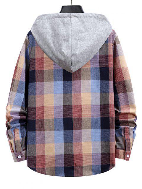 best Colorblock Hood Plaid Shirt Jacket - PINK M Mobile