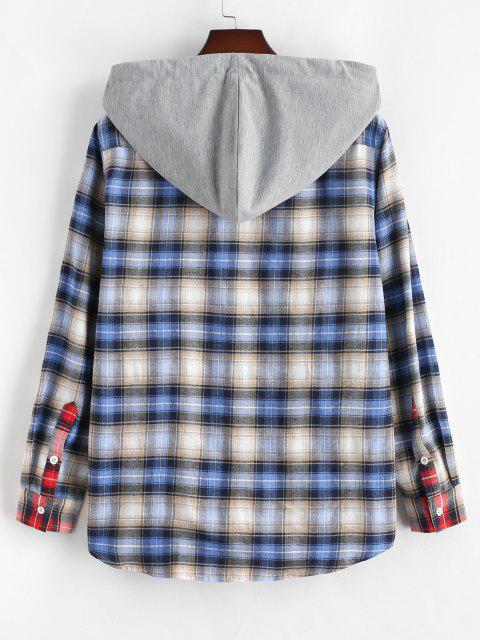 shop Colorblock Plaid Hooded Shirt - RED M Mobile