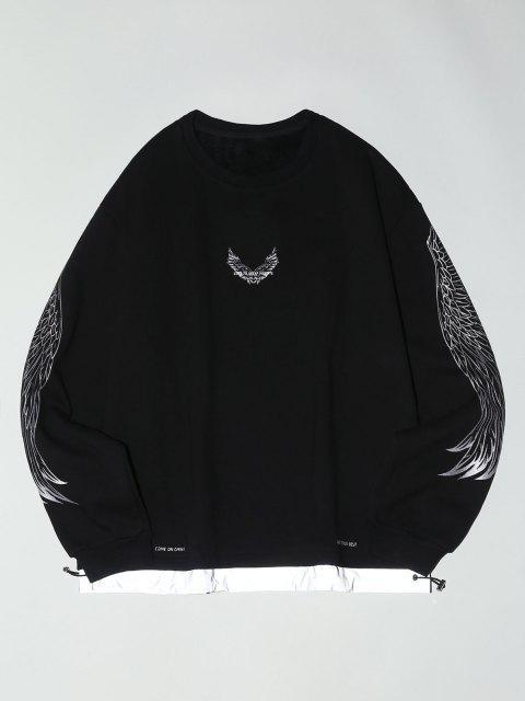 fashion Fleece Lined Reflective Wing Pattern Faux Twinset Sweatshirt - BLACK L Mobile