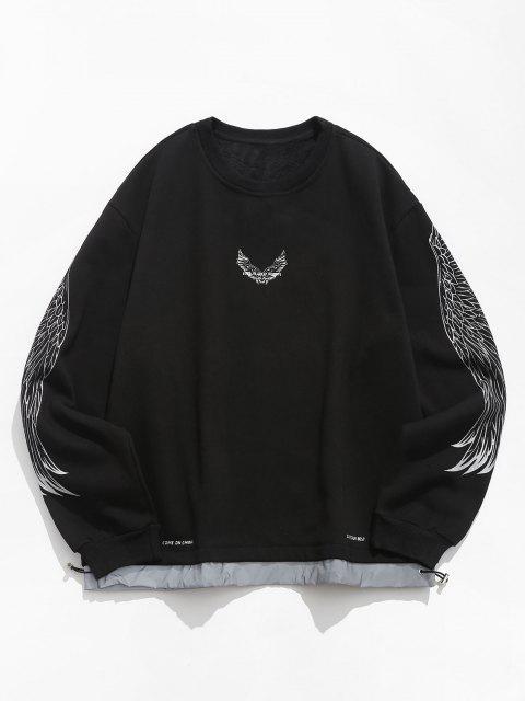 chic Fleece Lined Reflective Wing Pattern Faux Twinset Sweatshirt - BLACK 3XL Mobile
