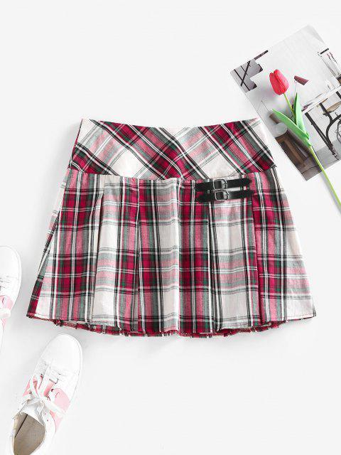 fashion ZAFUL Plaid Buckle Embellished Pleated Mini Skirt - MULTI XL Mobile