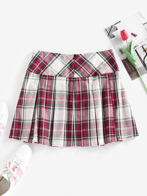 affordable ZAFUL Plaid Buckle Embellished Pleated Mini Skirt - MULTI S Mobile