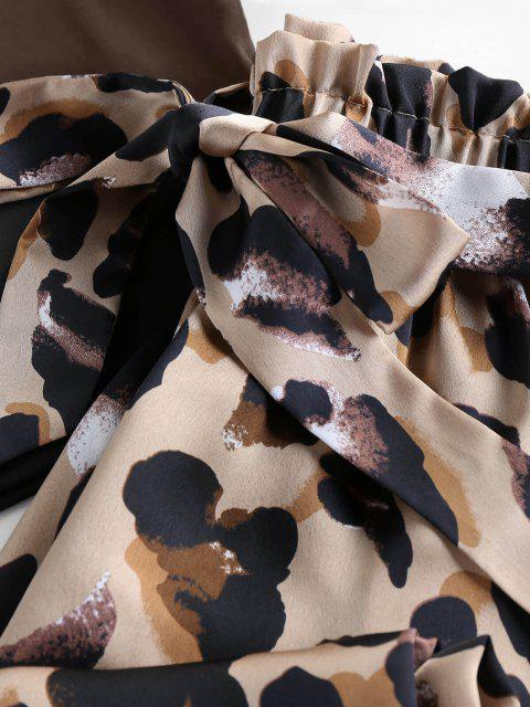 online ZAFUL V Cut Leopard Wide Leg Paperbag Pants Set - DEEP COFFEE L Mobile